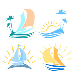set of logos on the sea vector image