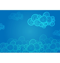 Stylized spiral clouds on the blue background vector image vector image