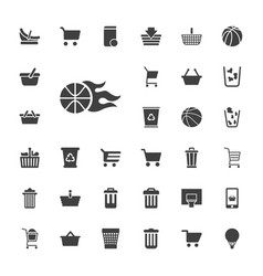 33 basket icons vector
