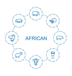 8 african icons vector