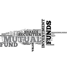 a guide to mutual funds text word cloud concept vector image