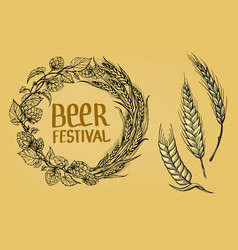 a wreath of ears of wheat and hops vector image