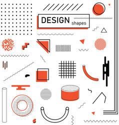 Abstract geometric design elements set memphis vector