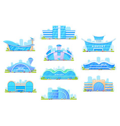 Airport terminal buildings architecture icons vector
