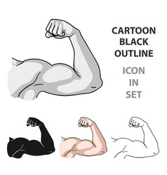 Biceps icon in cartoon style isolated on white vector