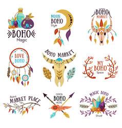 Boho emblems set vector