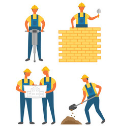 Building or construction works workers and tools vector