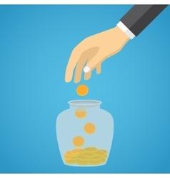 Businessman hand throwing a glass jar gold coin vector