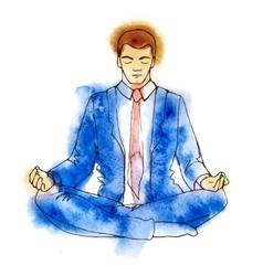 Businessman meditating watercolor vector