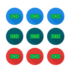 Cash icon set in flat style dollar banknote green vector