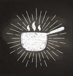 Chalk silhoutte of hot pot with sun rays vector