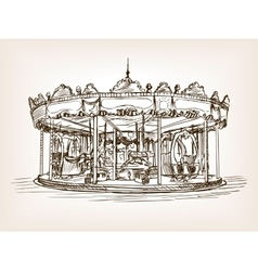 Children carousel sketch style vector image