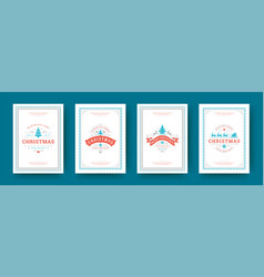 christmas cards set vintage typographic qoutes vector image