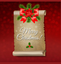 christmas paper scrolls banner vector image