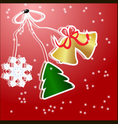 christmas stickers christmas tree with snowflake vector image