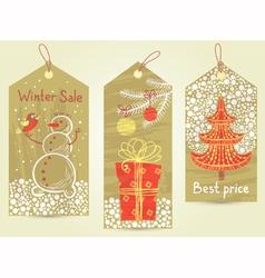 Christmas vintage tags vector image