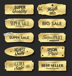 Collection golden metal plates labels retro vector