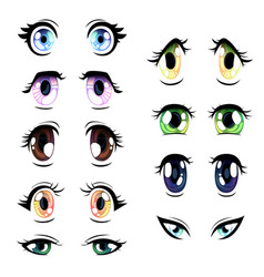 collection of bright eyes of different colors vector image