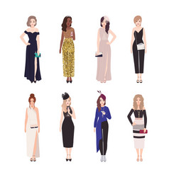 Collection of girls in luxury evening outfits vector