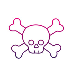Color line darger skull with bones to death symbol vector