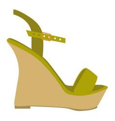 Color silhouette of green sandal shoe with vector