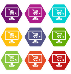 Computer monitor with shopping cart icon set color vector