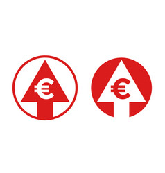 Cost price euro increase exchange index icon vector