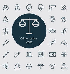 crime justice outline thin flat digital icon vector image