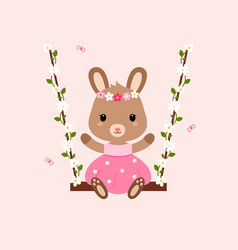 Cute bunny sitting on the swings vector