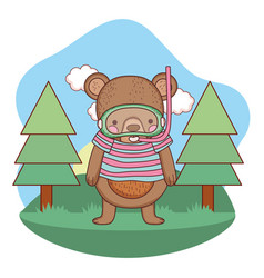 cute little bear with shirt and snorkel vector image