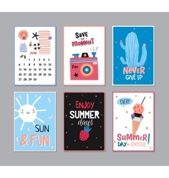 Cute Summer Poster Set vector image