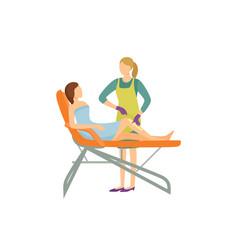 Depilation procedure in beauty salon cartoon icon vector