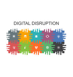 Digital disruption cartoon template with flat vector