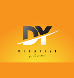 Dy d y letter modern logo design with yellow vector