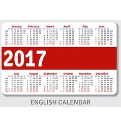 English pocket calendar for 2017 vector image