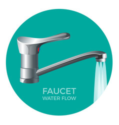 faucet water flow promo logo with modern tap vector image