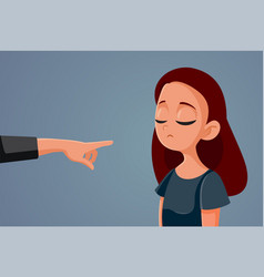 Finger pointing at young teen girl vector