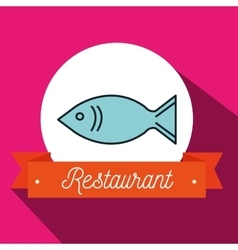 Fish food restaurant icon vector