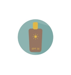 Flat icon bottle with sunscreen creme for safe tan vector image