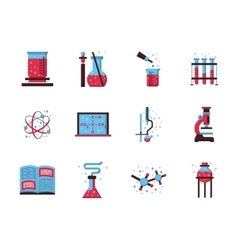 Flat style chemistry colored icons vector image