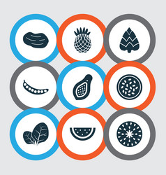 Fruit icons set with fig marakuja pineapple and vector