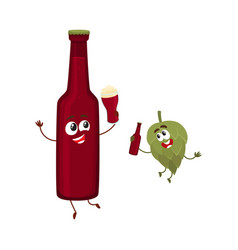Funny beer bottle and hop characters having fun vector