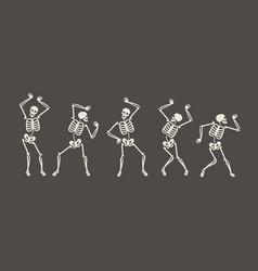 funny skeletons dancing day dead halloween vector image