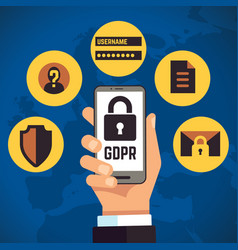 gdpr general data protection regulation internet vector image