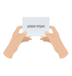 hands holding blank piece of paper vector image