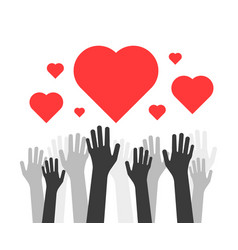 Hands up with hearts like volunteers charity vector