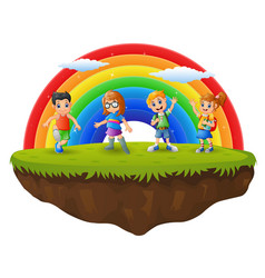 Happy boy and girl in the hill on rainbow backgrou vector