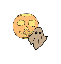 Happy halloween color icon flying ghost and vector