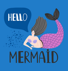 hello card with happy mermaid template vector image
