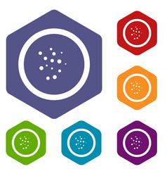 Hot sauce icons set hexagon vector